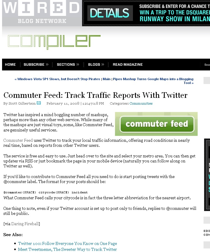 Commuter Feed in Wired Feb 11, 2008