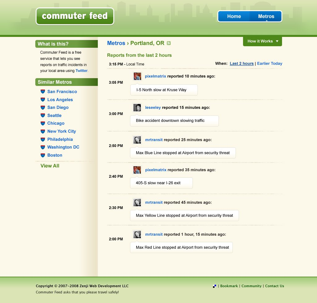 Commuter Feed PDX page UI design comp